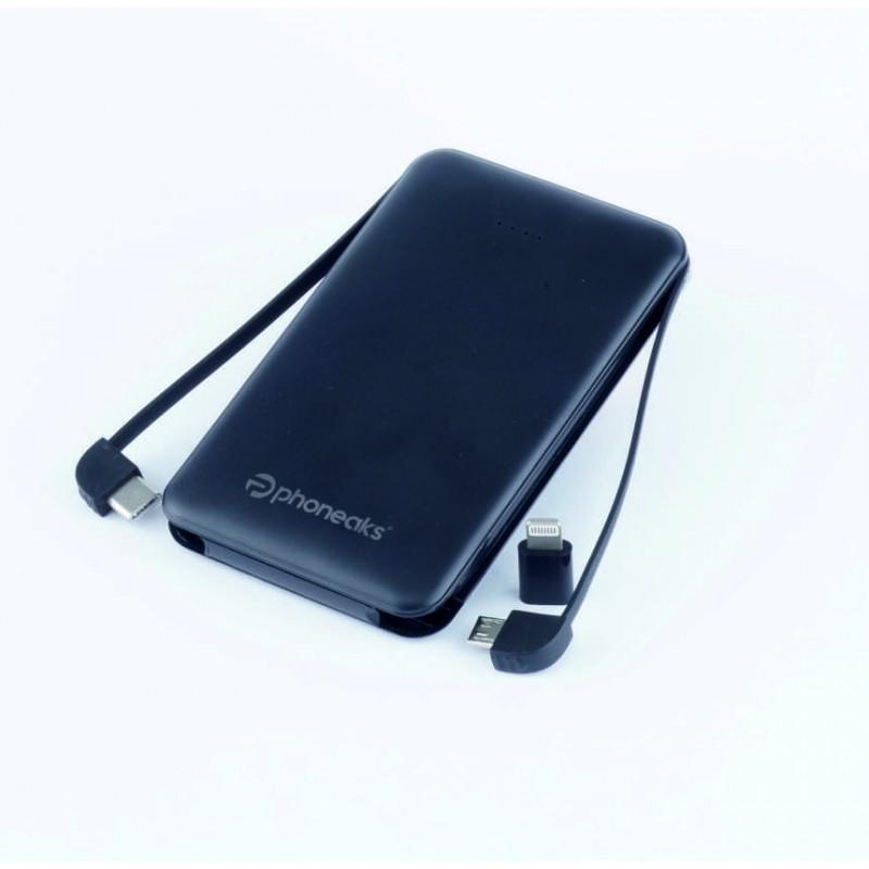 PHONEAKS TRIPLE 5000 MAH POWERBANK (Micro-Iphone-Type-C) KABLOLU