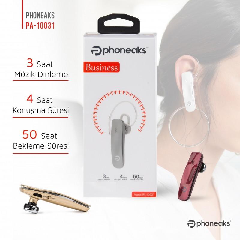 Phoneaks Tek Kulaklıklı Bluetooth Kulaklık PA-10031